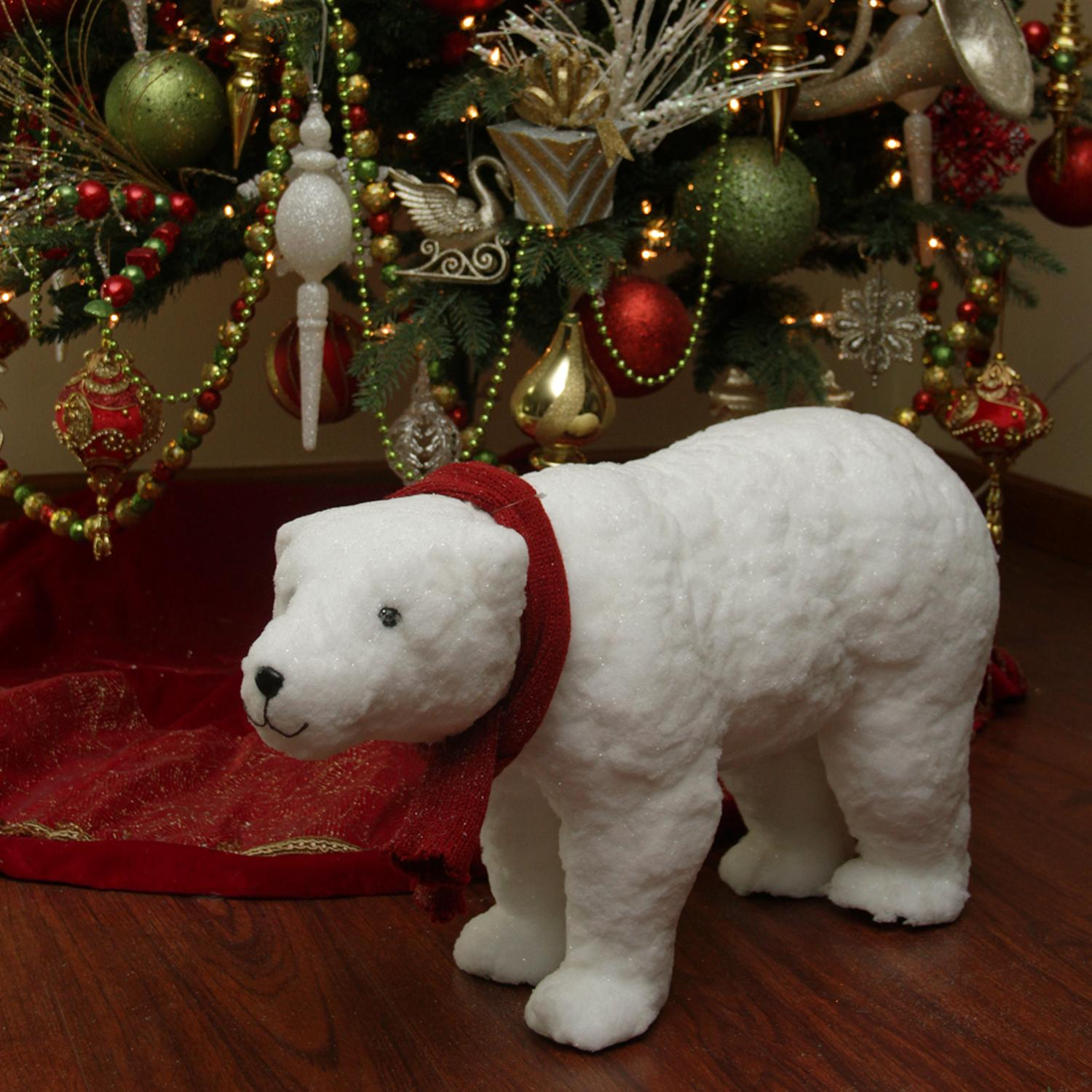 25 walking plush white polar bear christmas decoration