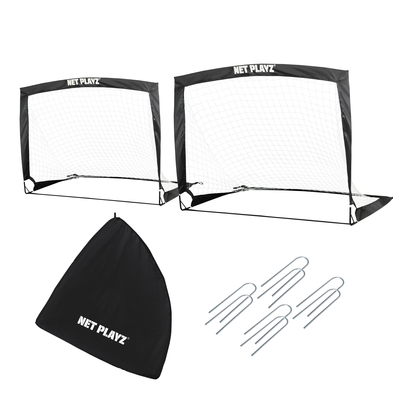 Set of 2 NET PLAYZ 4ftx3ft Easy Fold-Up Portable Training Soccer Goal