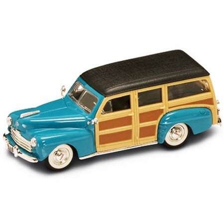 Turquoise Car (1948 Ford Woody, Turquoise - Yatming 94251 - 1/43 Scale Diecast Model Toy Car )
