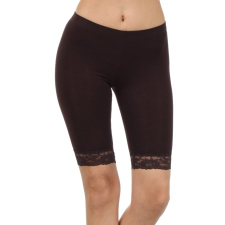 8c3ee32eed70e7 Sakkas Cotton Lycra Blend Lace Trim Stretch Bike Shorts - Made in USA -  Brown - Small