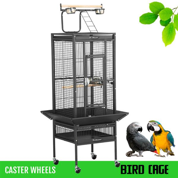 Yaheetech Wrought Iron Select Pet Bird Cage Play Top Parrot Cockatiel Cockatoo Parakeet Finches-Black