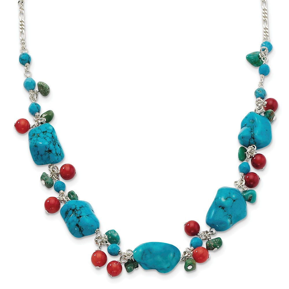 """925 Sterling Silver Dyed Howlite & Simulated Turquoise & Red Coral Necklace -16"""" (16in x 11mm) by"""