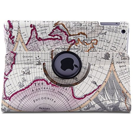 Eleoption New Map Design Auto Sleep Wake Function 360 Degree Rotating Smart Case Cover For Ipad Air 2 Gen Generation    Supports Auto Wake Sleep Function  With Free Stylus  Earthmap Purple