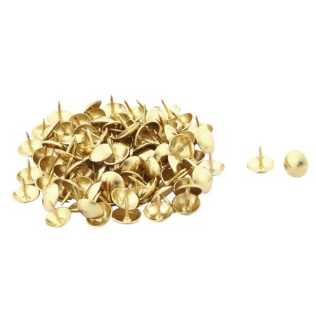 Home Furniture Metal Upholstery Decoration Tack Nail Gold Tone 10 x 10mm 100pcs