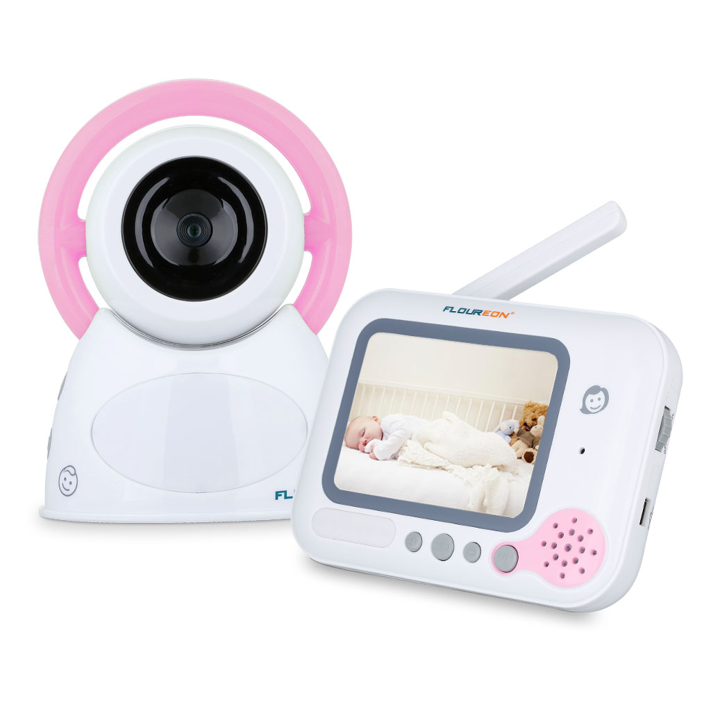 "Floureon 3.5"" LCD Digital Baby Video Monitor with Talk to Baby Intercom Support Night Vision"