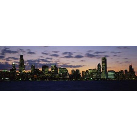 Party City In Illinois (Buildings in a city at dusk Chicago Illinois USA Canvas Art - Panoramic Images (18 x)