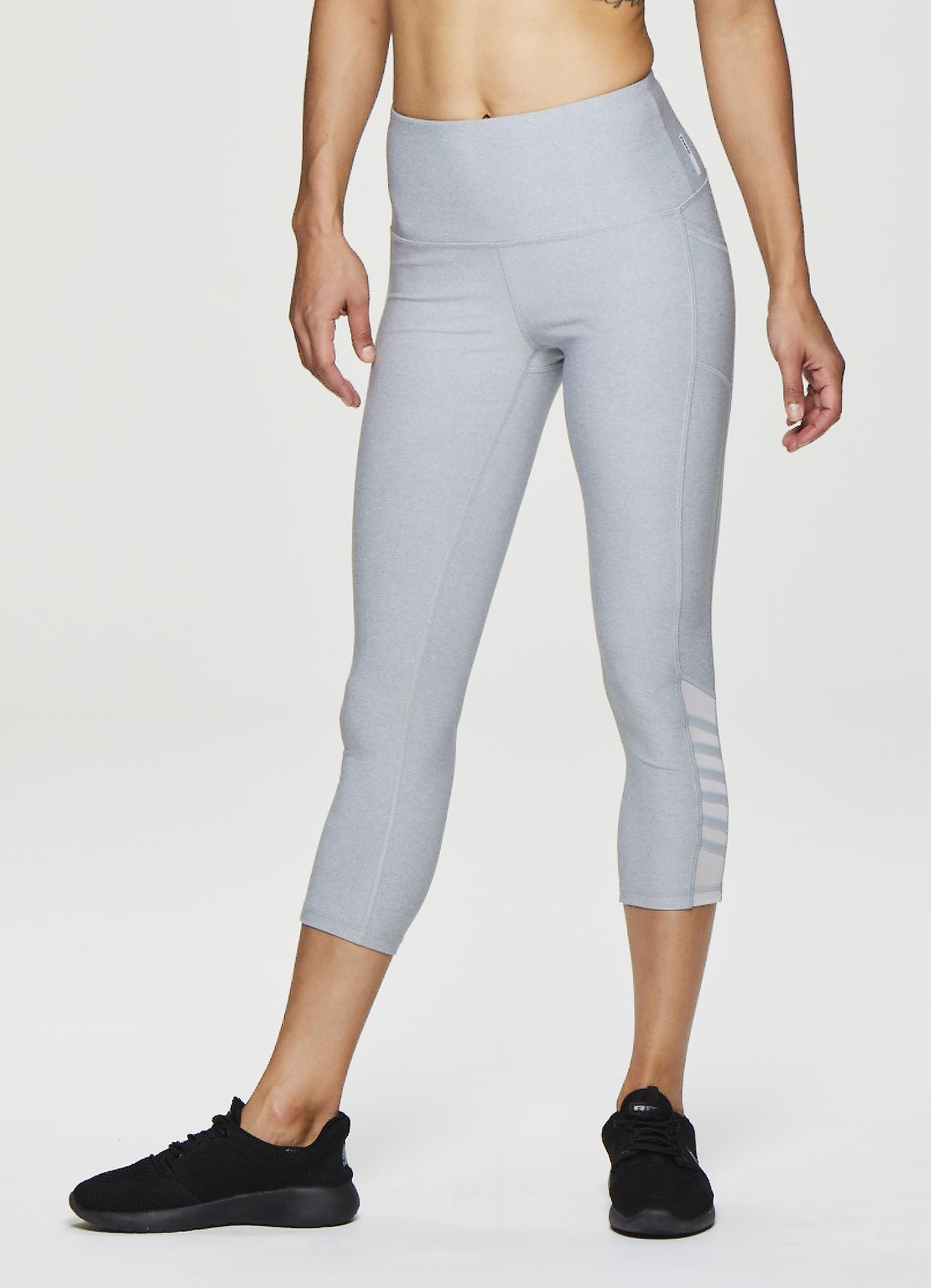 Women's Active Capri Leggings with Mesh Side Detail