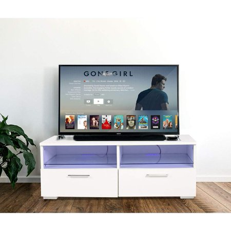 - UBesGoo Modern TV Stand With LED Light 2 Glass Shelves & 2 Drawers Cabinet TV storage Console Furniture White