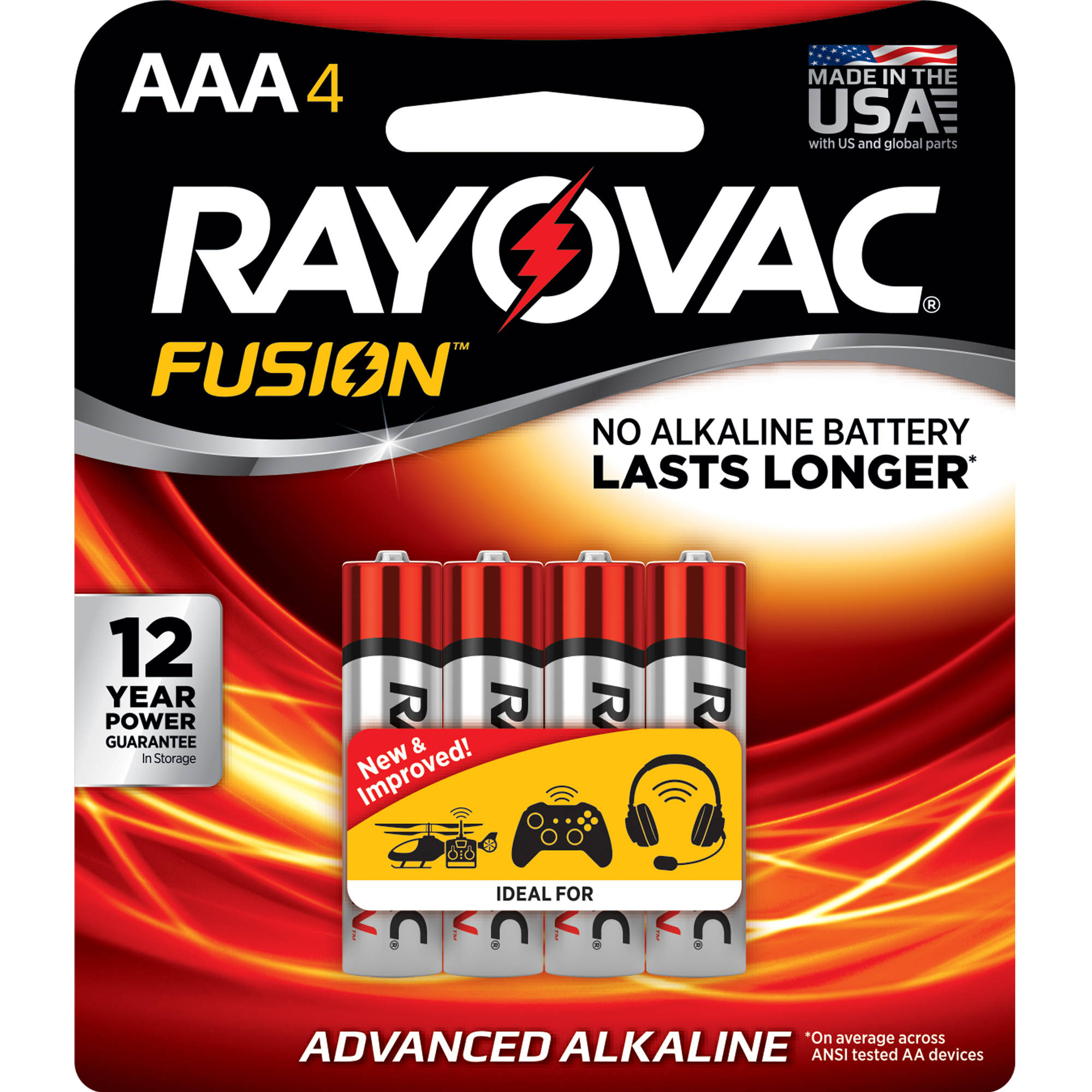 Rayovac Fusion High-Power Alkaline Batteries, Size AAA, 4-Pack