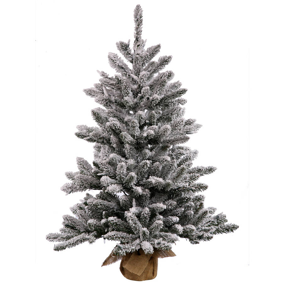 "Vickerman 30"" Flocked Anoka Pine Artificial Christmas Tree with 50 Warm White LED Lights"