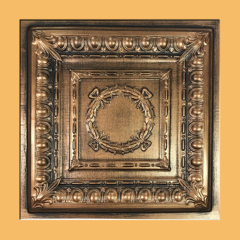 Asiago Antique Copper Black PVC Ceiling Tiles for Drop in Grid System (10 pack)