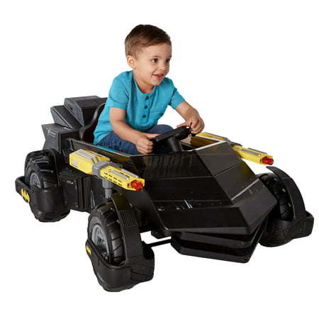 6 Volt DC Comics Batman Batmobile Battery Powered Rideon - Features Light up Cannons and Sounds!