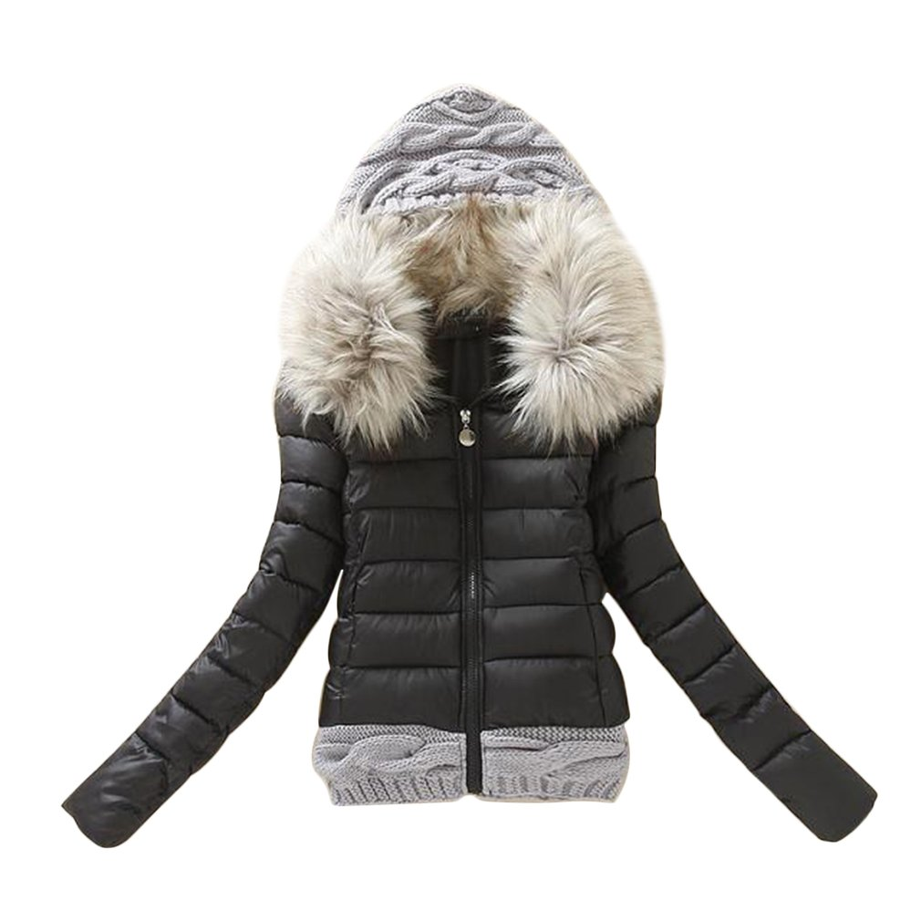 Winter Fashion Coat Womens Long Hoodies Knitted Wool Hat Thick Short With Hood Padded Fur Collar Outerwear All Match