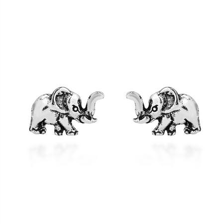 Elephant Earings - Adorable Petite Elephant .925 Sterling Silver Stud Earrings