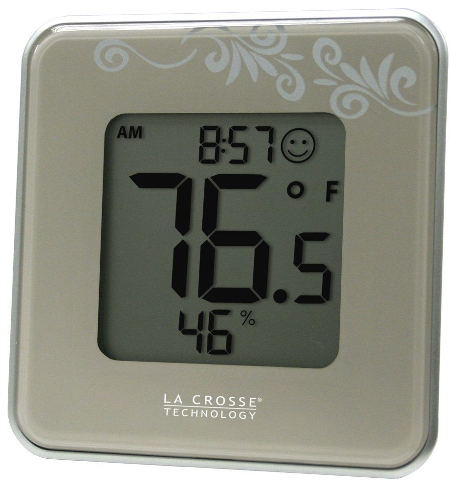 302-604S Silver Indoor Digital Thermometer & Hygrometer Station with MIN/MAX records & Comfort level icon, Indoor temperature (Degree.., By La Crosse Technology