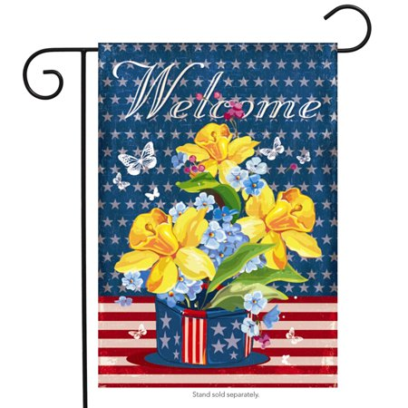 - Patriotic Welcome Floral Garden Flag Daffodils Red White and Blue 12.5