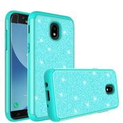 Samsung Galaxy J3 (2018) Case, Express Prime 3 (SM-J337A)/ Galaxy J3 Achieve Case, Cute Girls Women Glitter Bling Silicone Shock Proof [Screen Protector] Dual Layer Phone Case Cover - Mint