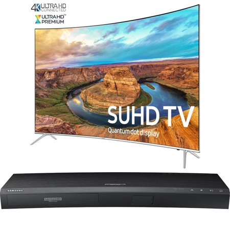 Samsung Curved 65-Inch Smart 4K SUHD HDR 1000 LED TV – KS8500 8-Series (UN65KS8500FXZA) with Samsung 3D Wi-Fi 4K Ultra HD Blu-ray Disc Player