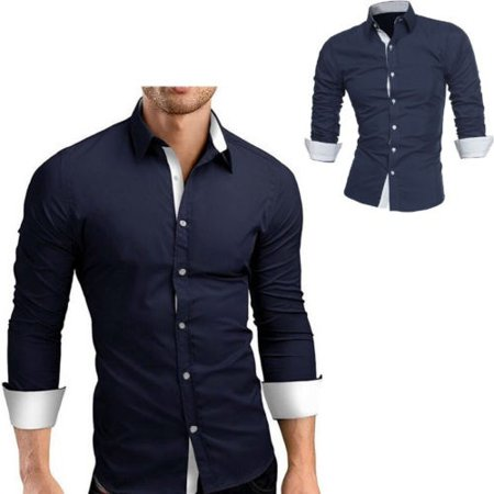 Mens Slim Fit Long Sleeve Cotton Shirt Casual Button Business Dress T-Shirt Tops - image 2 of 5