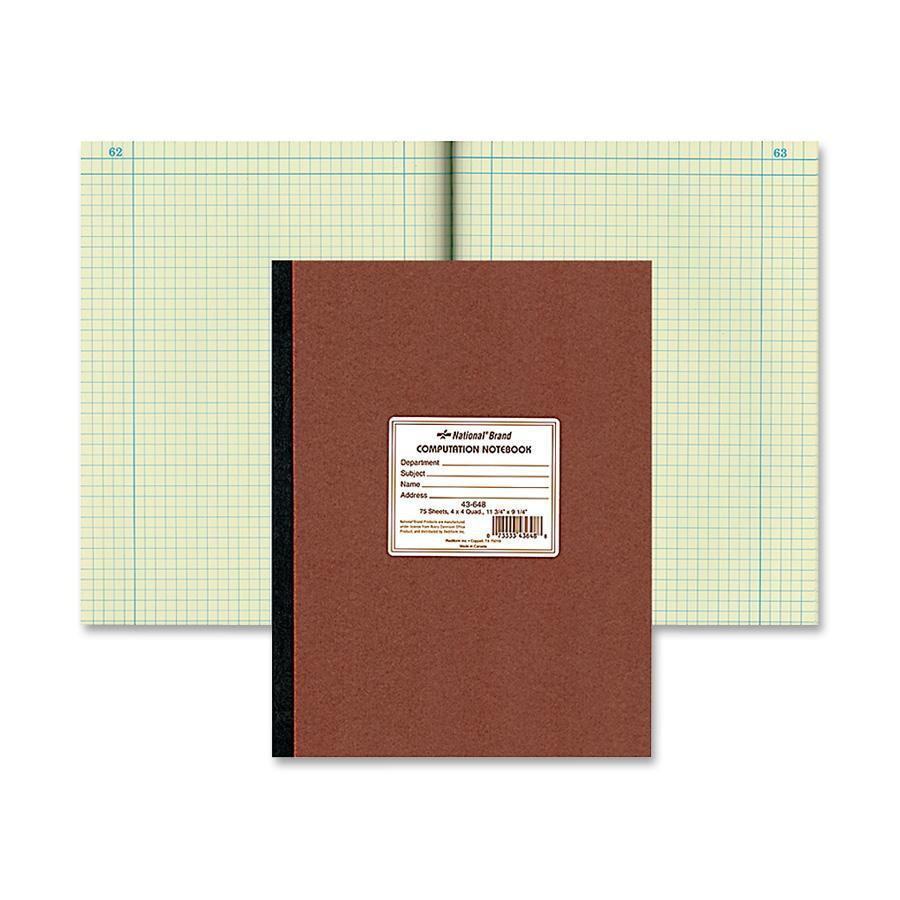 National Brand Computation Book, Quadrille Rule, 9-1/4 x 11-3/4, Green, 75 Sheets/Pad