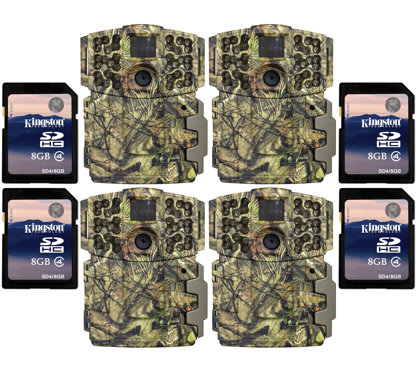 (4) Moultrie No Glow Invisible 20MP Mini 999i IR Trail Game Cameras w  SD Cards by