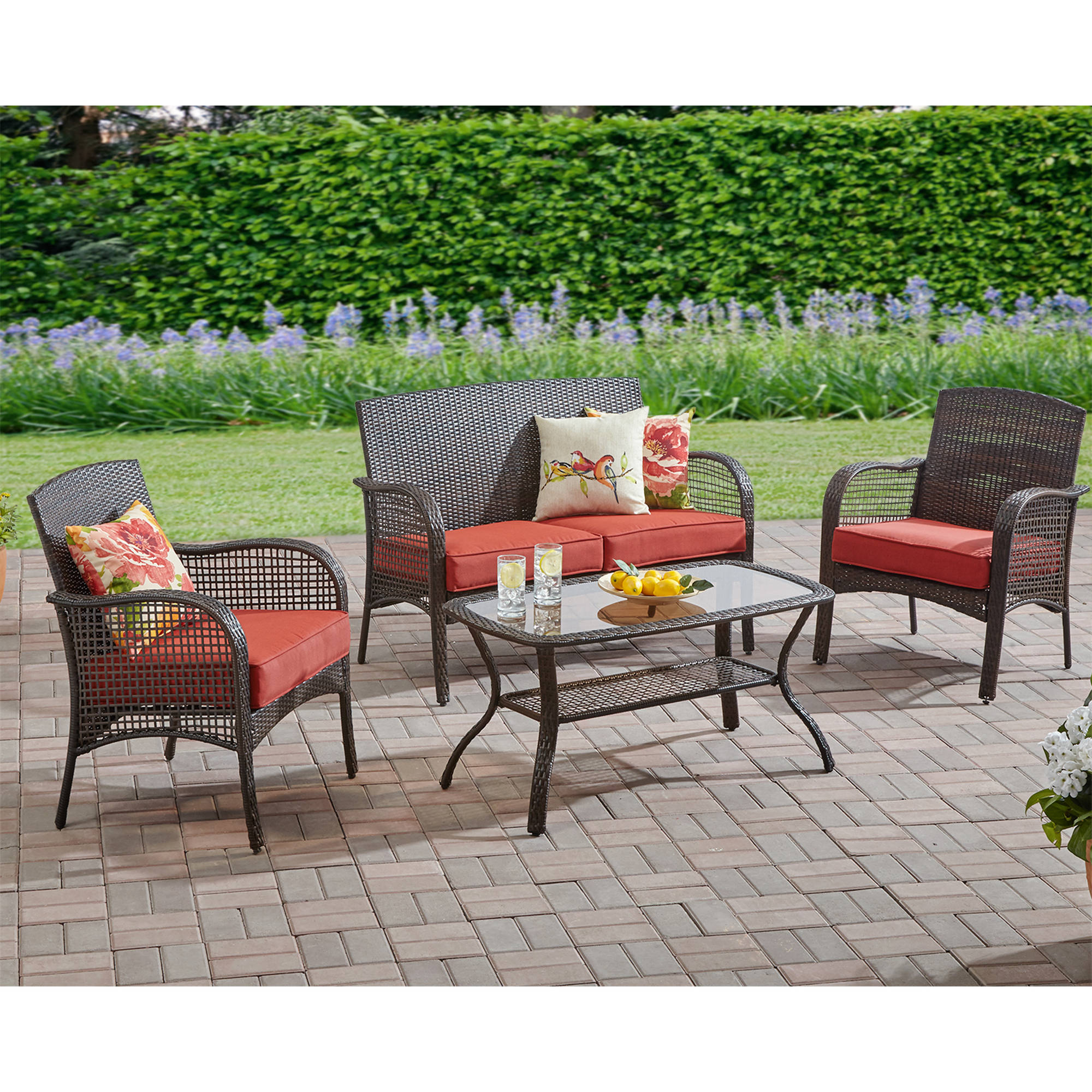 Mainstays cambridge park 4 piece outdoor conversation set for Outdoor furniture 4 piece