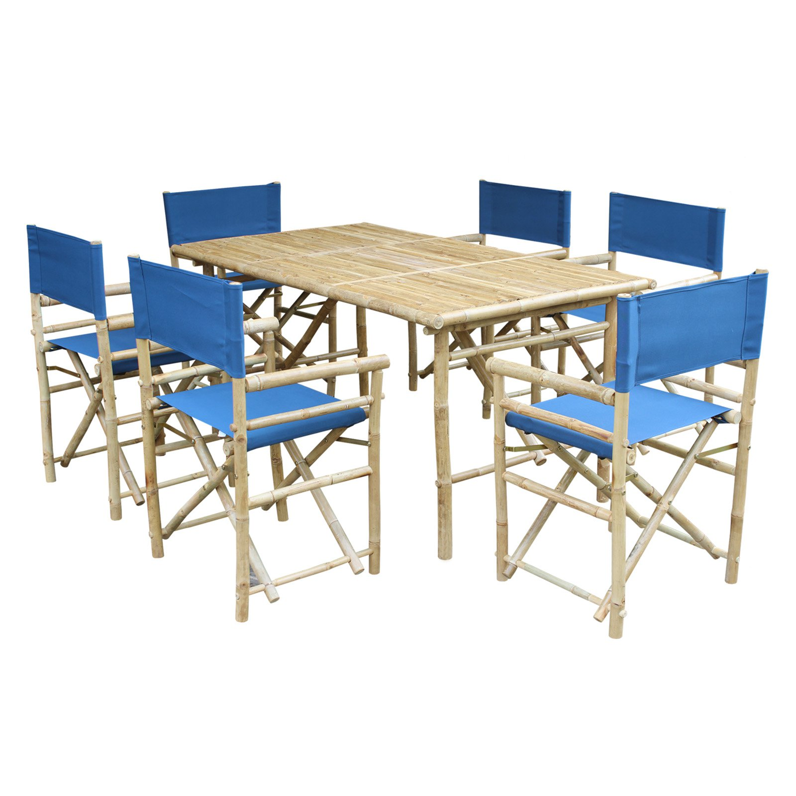 Zew Hand Crafted 7 Piece Rectangle Bamboo Patio Dining Set