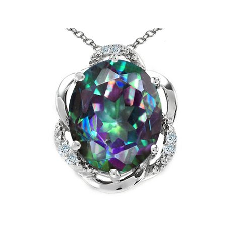 Tommaso Design Oval 12x10mm Rainbow Mystic Topaz Pendant Necklace