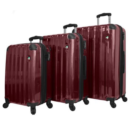 Mia Toro Burgundy Spazzolato Lucido 3pc Hardside Spinner Suitcase Luggage Set