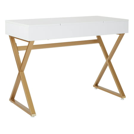 Juliette Vanity With White Top And Gold Legs