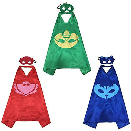 PJ Mask Super Team Kids Cape and Mask Costumes, 3-Set Gekko, Catboy and Owlette Costume Party Set, Superhero Party Favors - Adult Superhero Capes