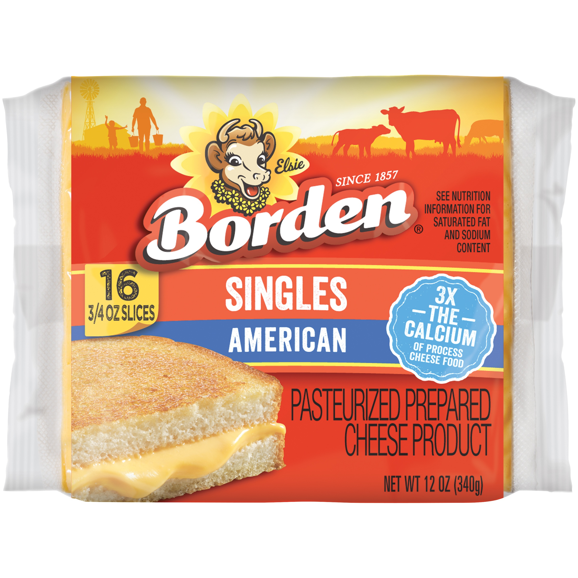 Borden American Singles Cheese Product, 16 ct
