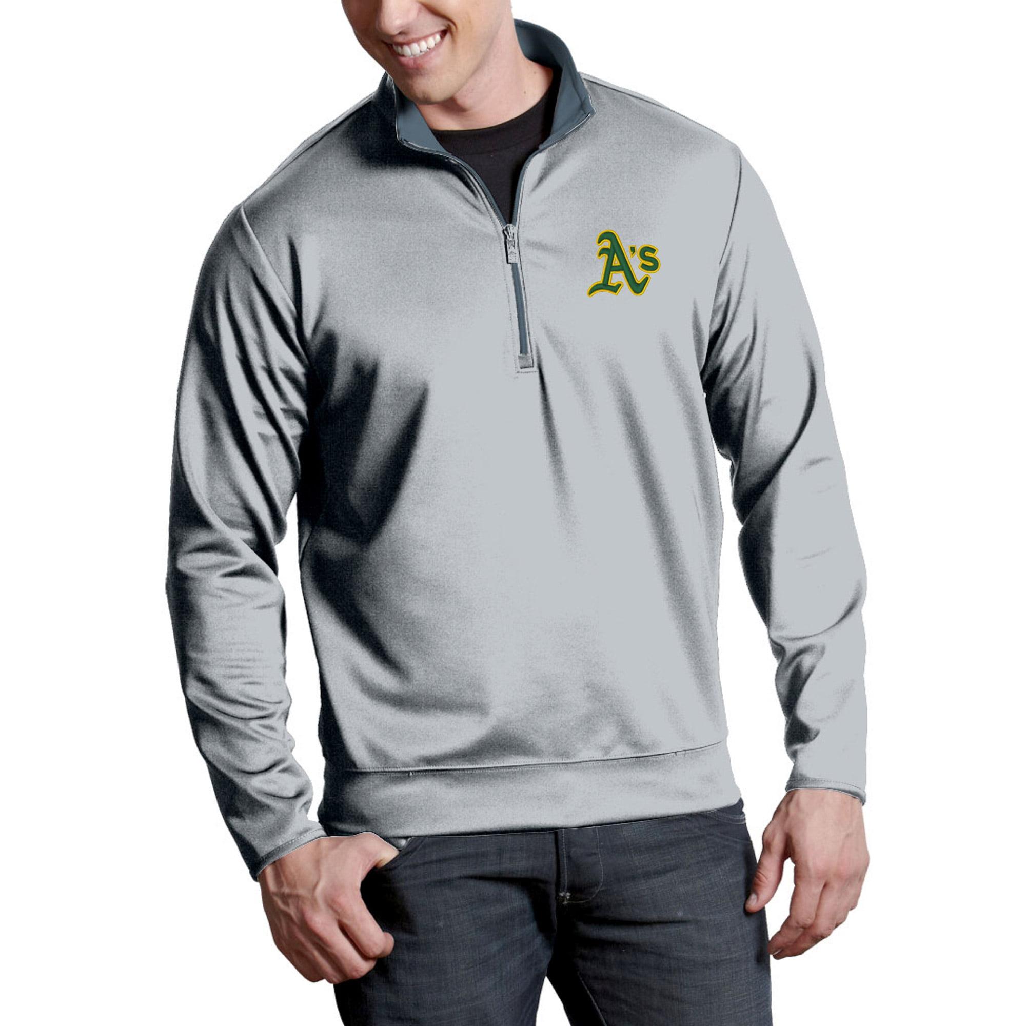 Oakland Athletics Antigua Leader Quarter-Zip Pullover Jacket - Silver