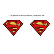 """Superheroes DC Comics Superman Logo 3"""" X 2"""" (2-Pack) Embroidered Iron/Sew-on Applique Patches"""
