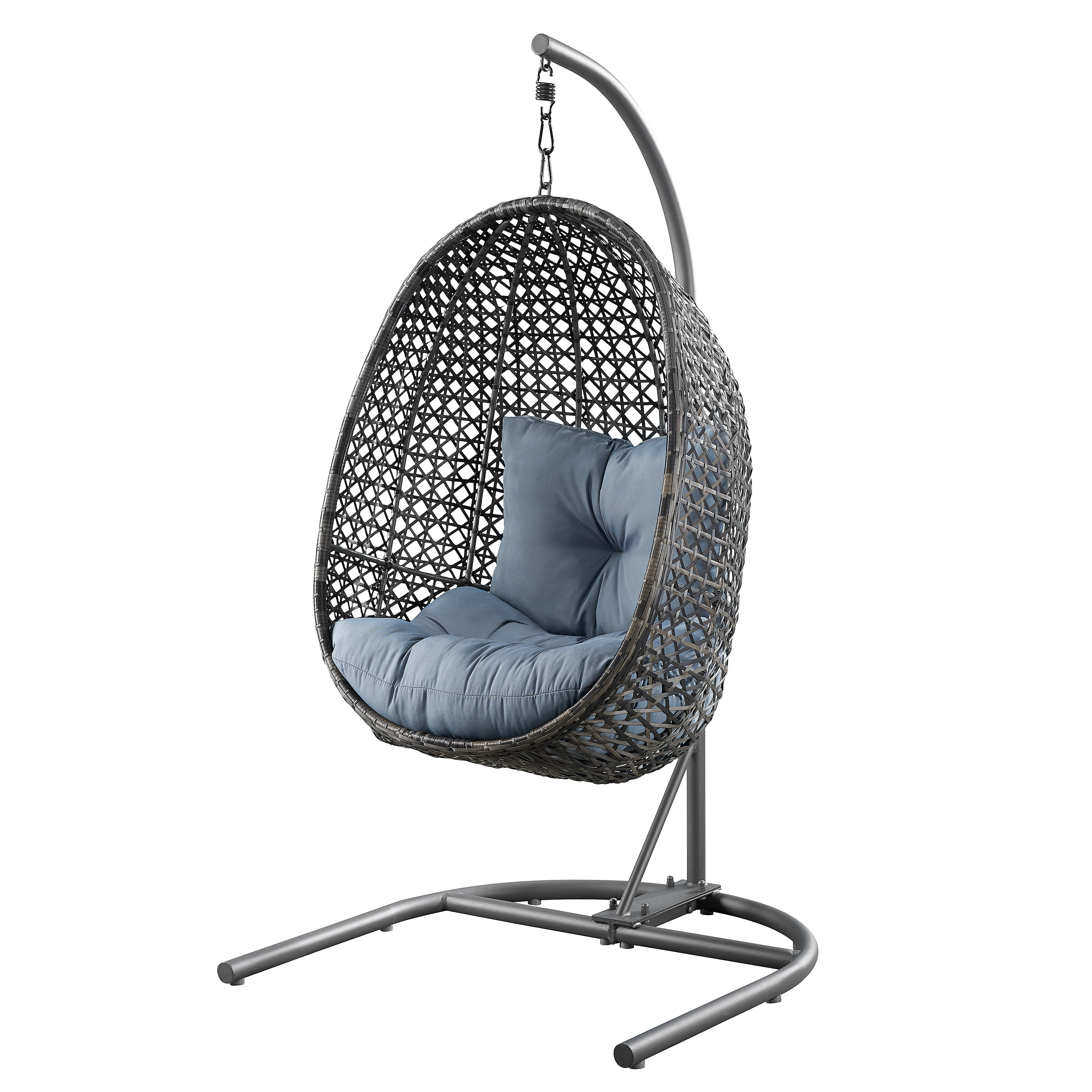 Better Homes & Gardens Lantis Patio Wicker Hanging Chair with Stand and Cushion, Multiple Colors