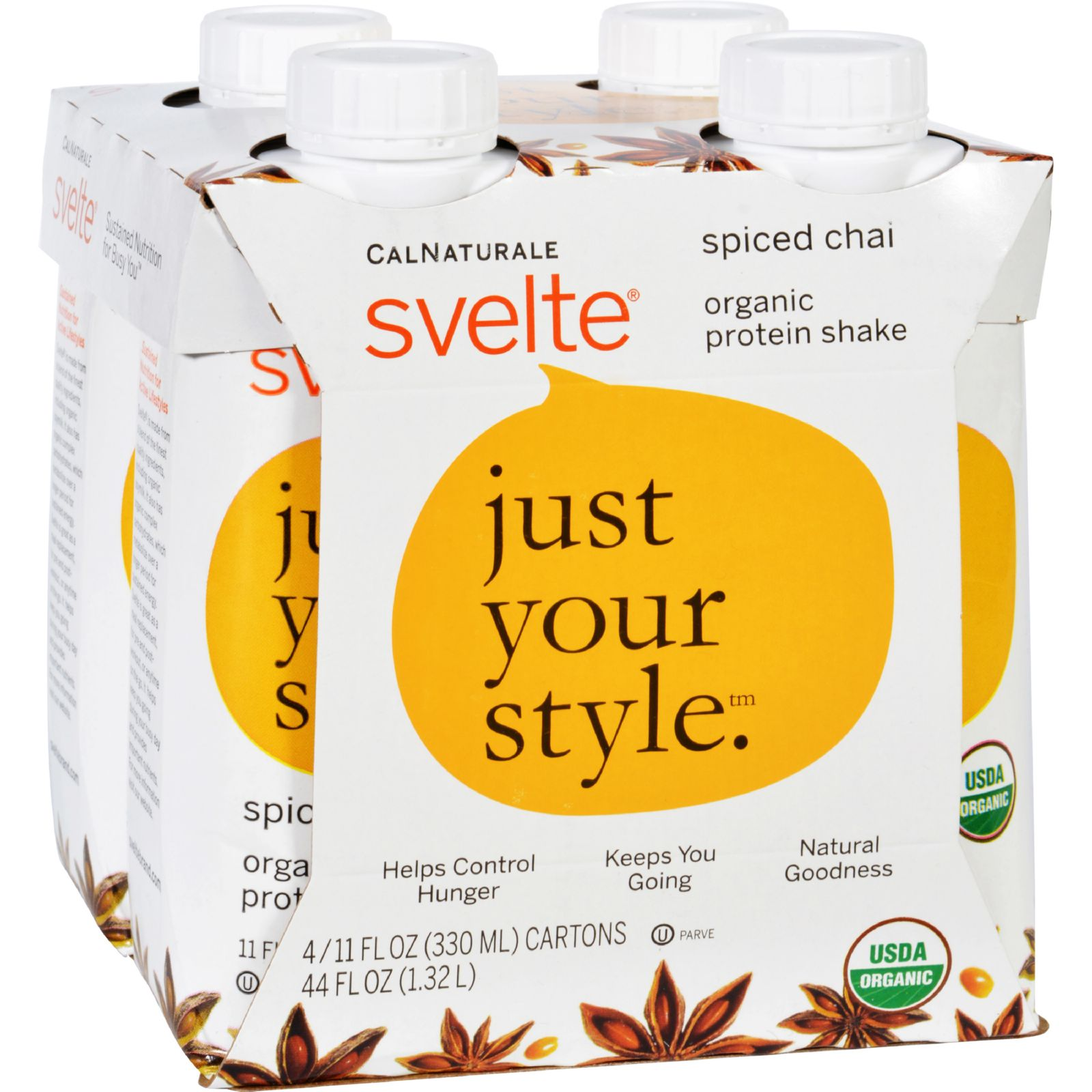 Svelte Organic Protein Shake, Spice Chai, 11 Fl Oz, 4 Ct