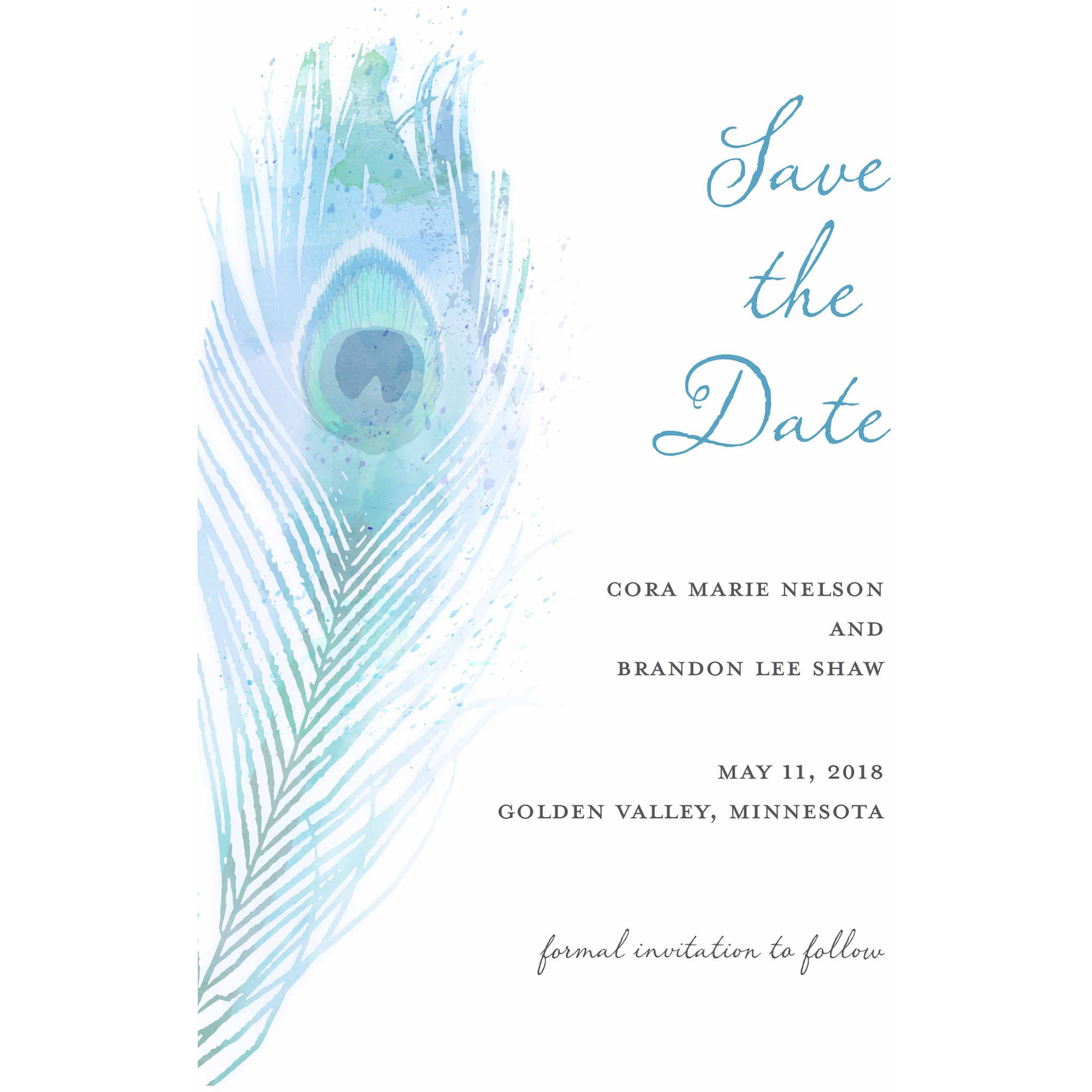 Painterly Plume Standard Save the Date