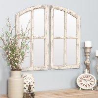 "Jolene Arch Window Pane Mirrors Off-White 27"" x 15"" (Set of 2) by Aspire"