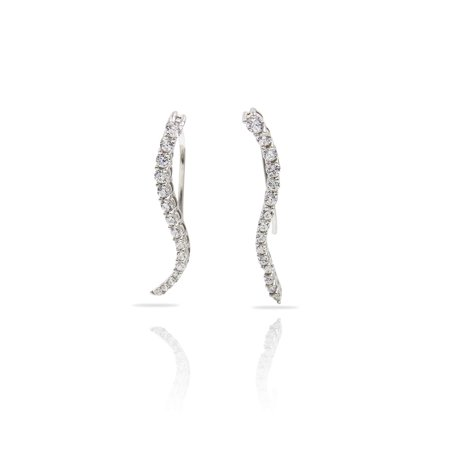 Sterling Silver CZ Crystal Stone Curved Bar Ear Pin Crawler Cuff Earrings