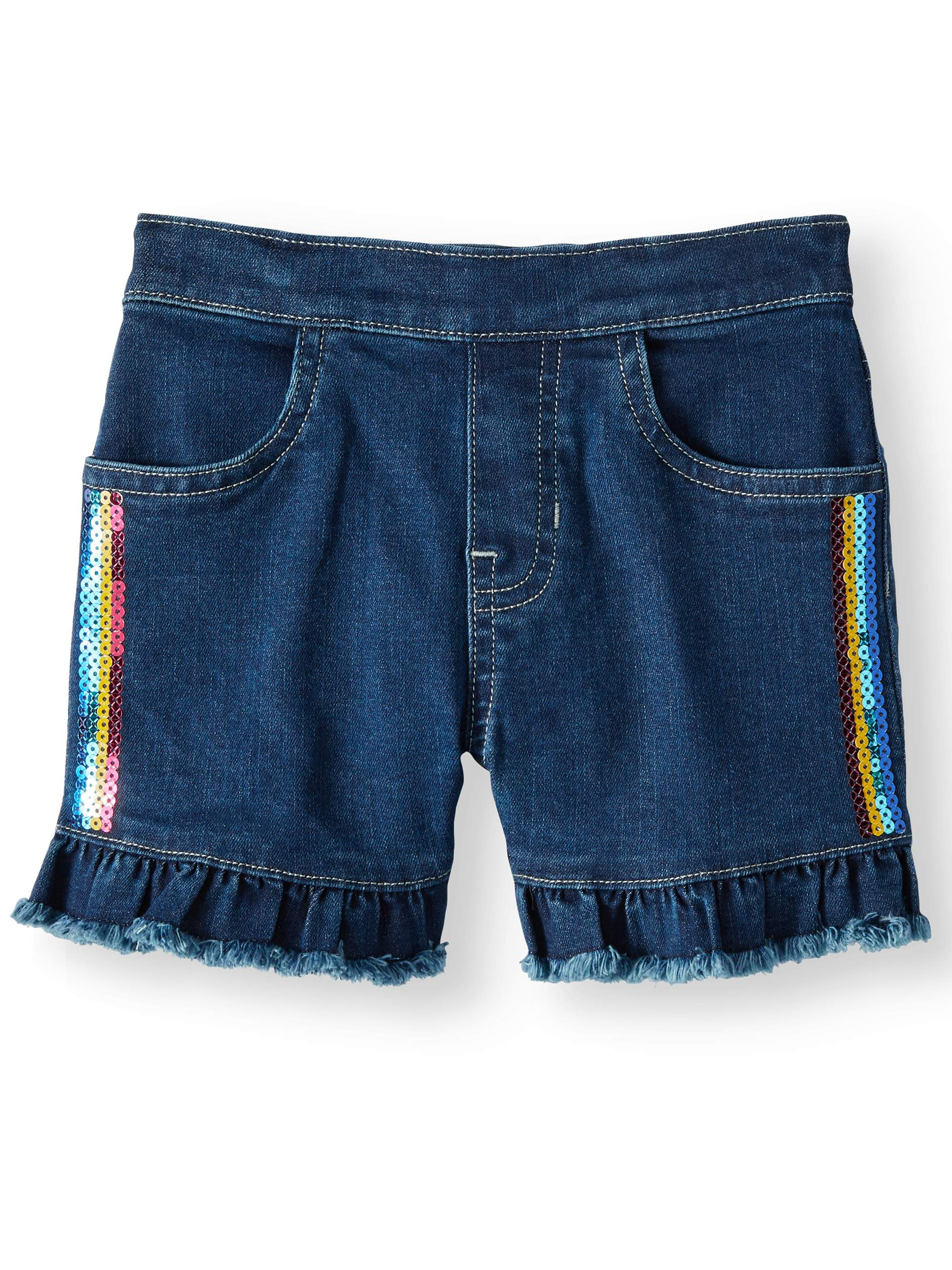 Denim Ruffle Short with Rainbow Sequins (Little Girls & Big Girls)