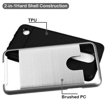 ASMYNA Hard Hybrid TPU Case For LG Aristo / LG LV3 - Silver/Black - image 1 of 2