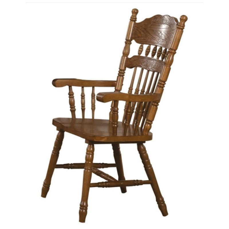 Bowery Hill Turned Spindles Dining Armchair in Oak (set of 2) by Bowery Hill