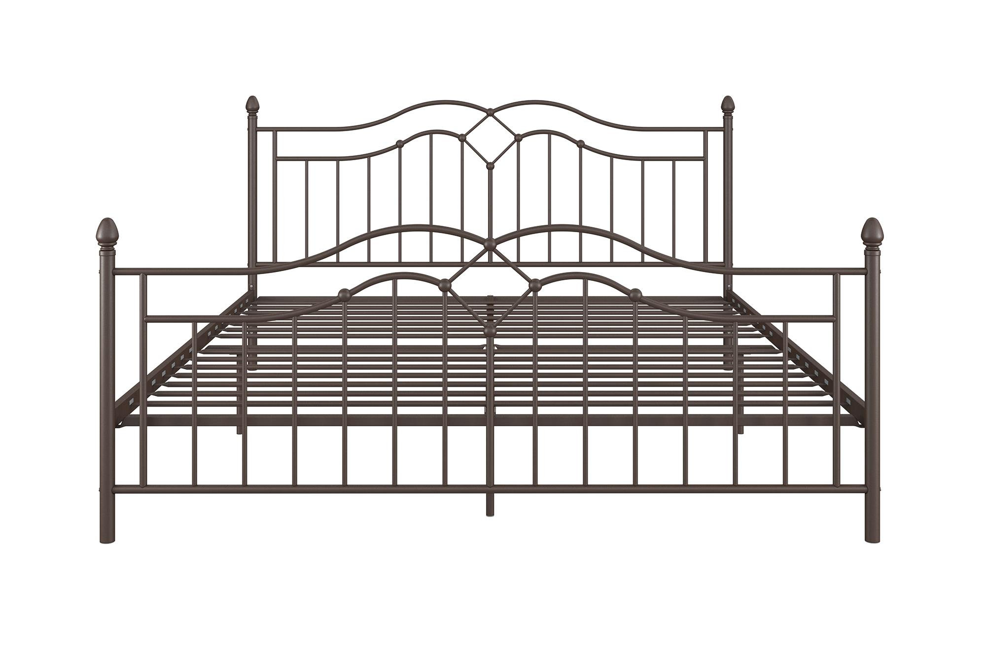 KING Size Brushed Bronze Modern Complete Metal Bed Frame Headboard ...