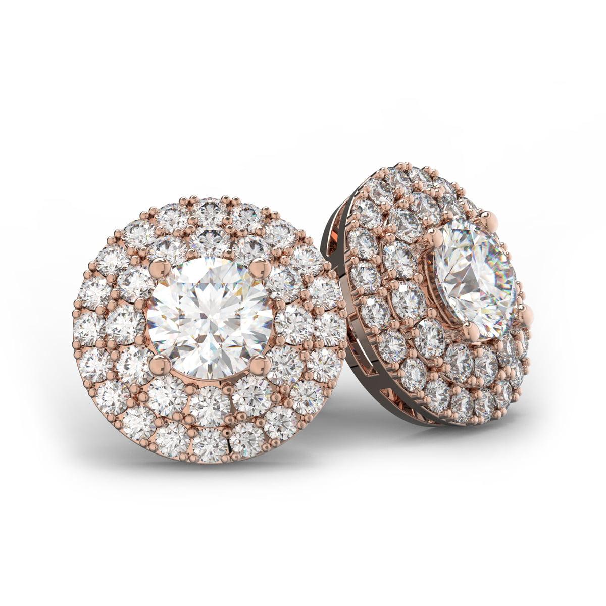 14K Rose Gold 3 Carat Diamond Halo Stud Earrings