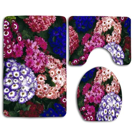 XDDJA Colorful World Flowers 3 Piece Bathroom Rugs Set Bath Rug Contour Mat and Toilet Lid Cover - image 1 of 2