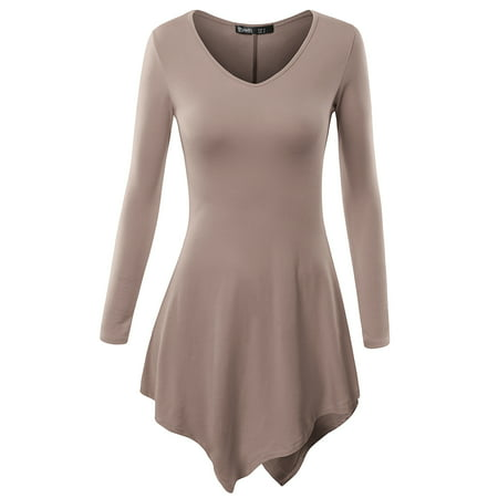 Thanth Women's Lightweight Long Sleeve Tunic Top With Asymmetry hem ()