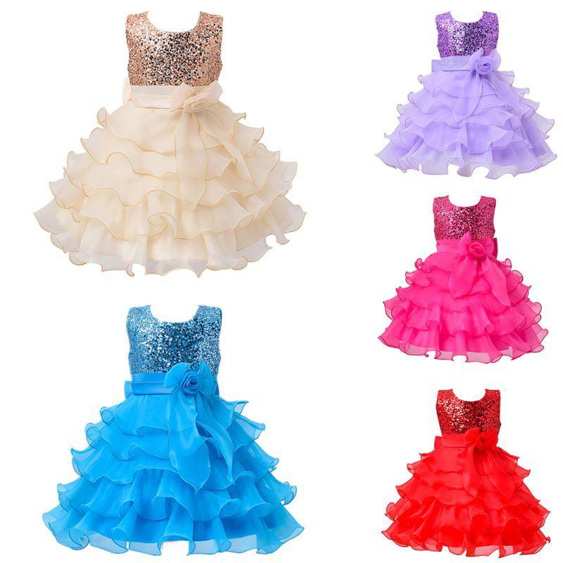 Kacakid Baby Kid Girl Sequins Flower Princess Dress Party Wedding Formal Tutu Dresses Asian Size