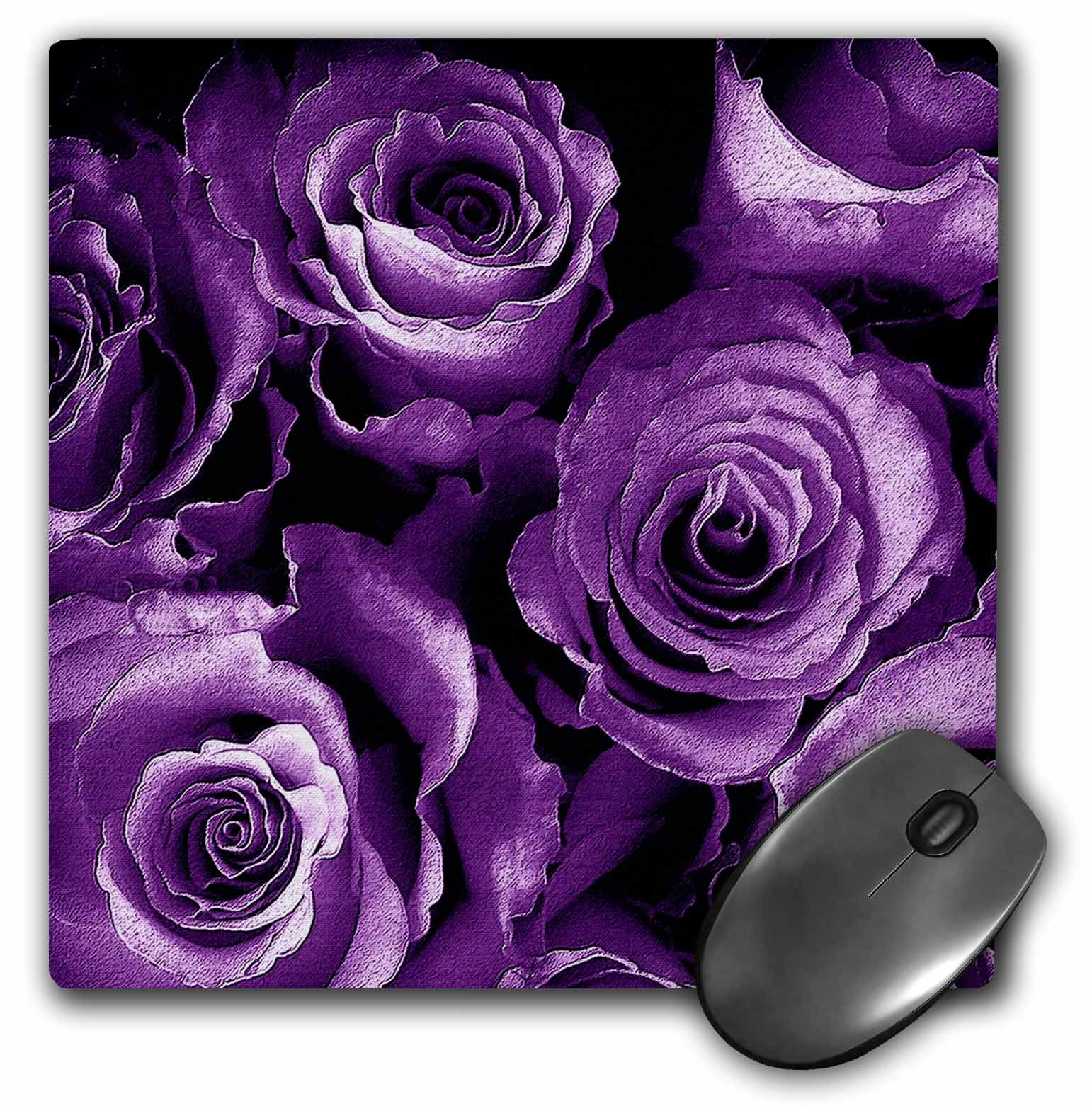 3dRose Close up of dreamy soft purple rose bouquet, Mouse Pad, 8 by 8 inches