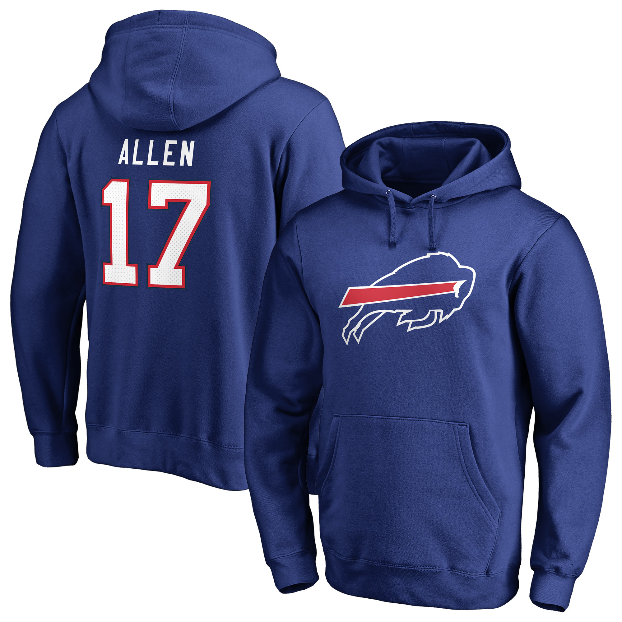 Josh Allen Buffalo Bills NFL Pro Line by Fanatics Branded Team Logo Player Icon Name & Number Pullover Hoodie - Royal