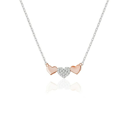 Cubic Zirconia Trio Heart Station Necklace in Sterling Silver